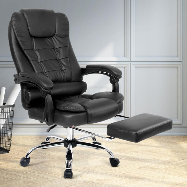 PU Leather Reclining Chair with Footrest - Black - Evopia