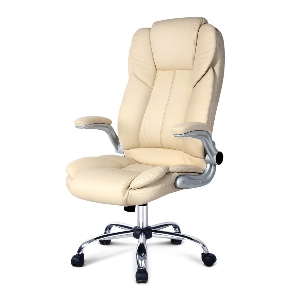 Artiss PU Leather Executive Office Desk Chair - Beige - Evopia