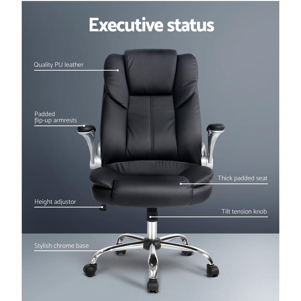 PU Leather Executive Office Desk Chair - Black - Evopia