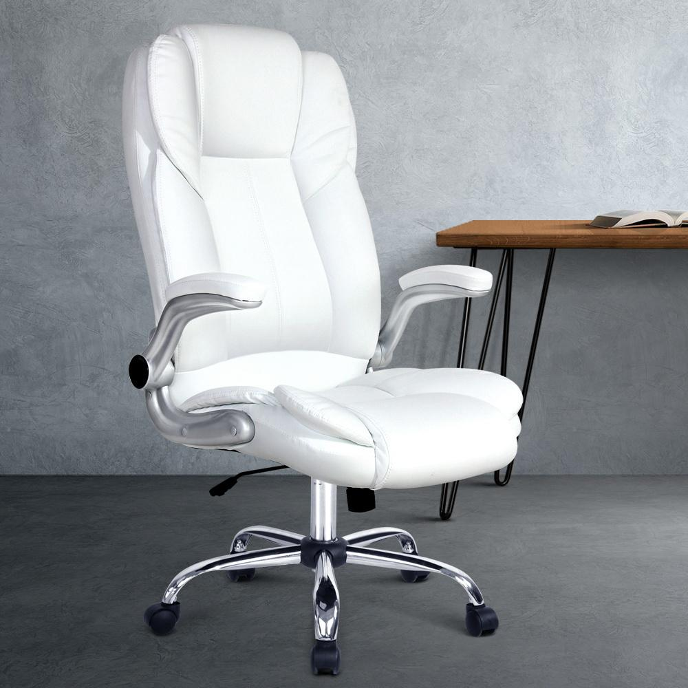 PU Leather Executive Office Desk Chair - White - Evopia