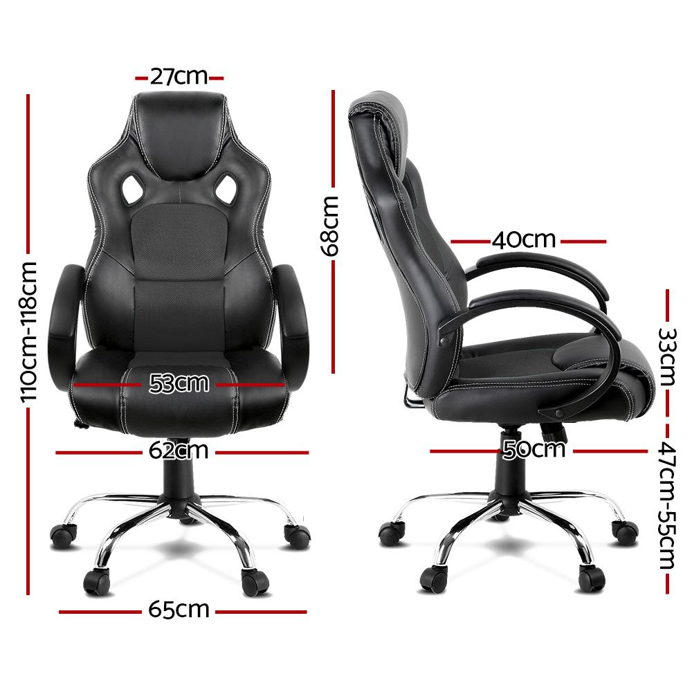 Racing Style PU Leather Office Desk Chair - Black - Evopia