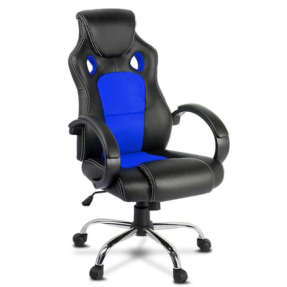 Racing Style PU Leather Office Desk Chair - Blue - Evopia