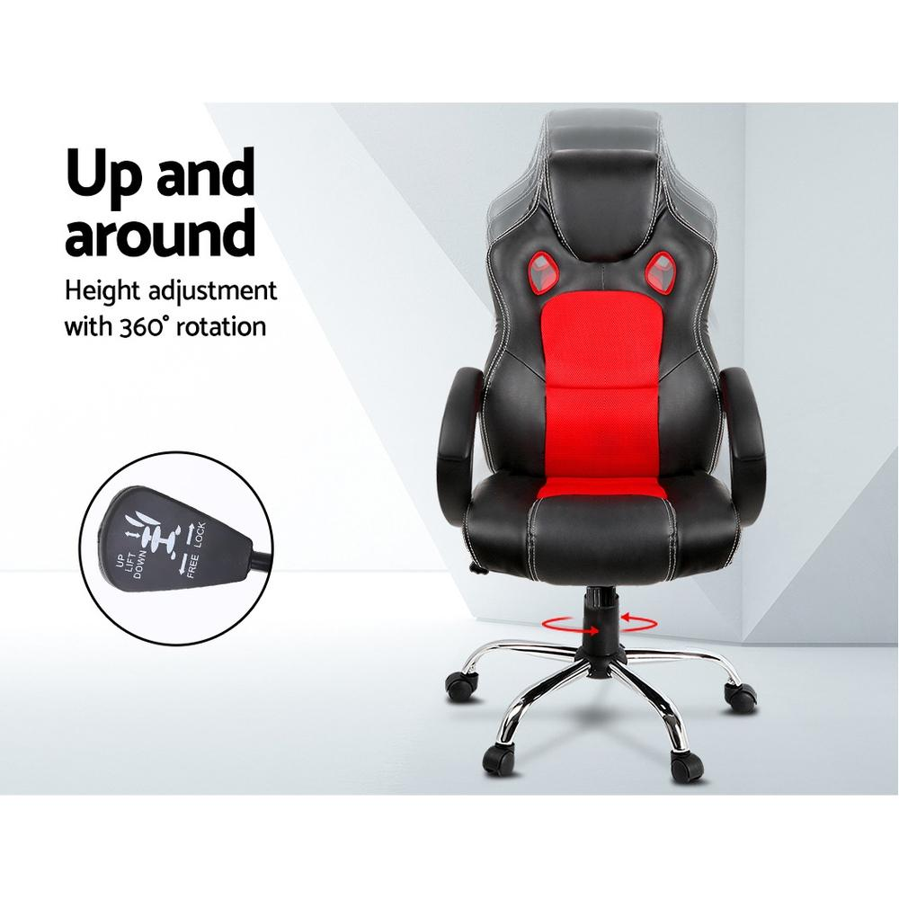 Racing Style PU Leather Office Desk Chair - Red - Evopia