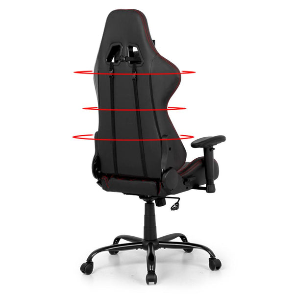 Artiss Gaming Office Chairs Computer Desk Racing Recliner Executive Seat Black - Evopia