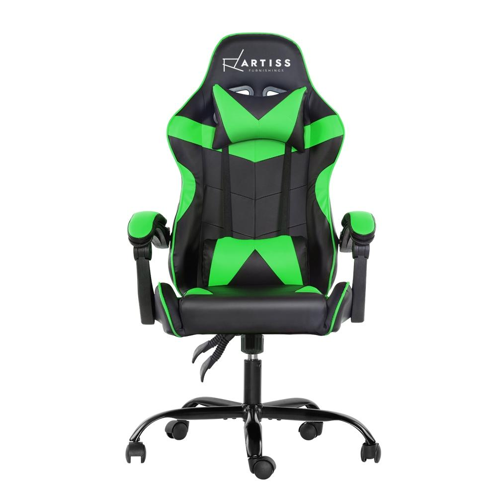 Artiss Office Chair Gaming Chair Computer Chairs Recliner PU Leather Seat Armrest Black Green - Evopia
