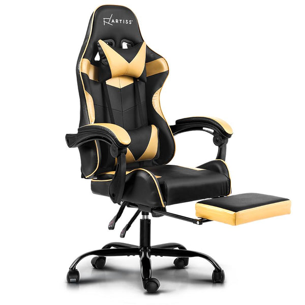 Artiss Office Chair Gaming Chair Computer Chairs Recliner PU Leather Seat Armrest Footrest Black Golden - Evopia