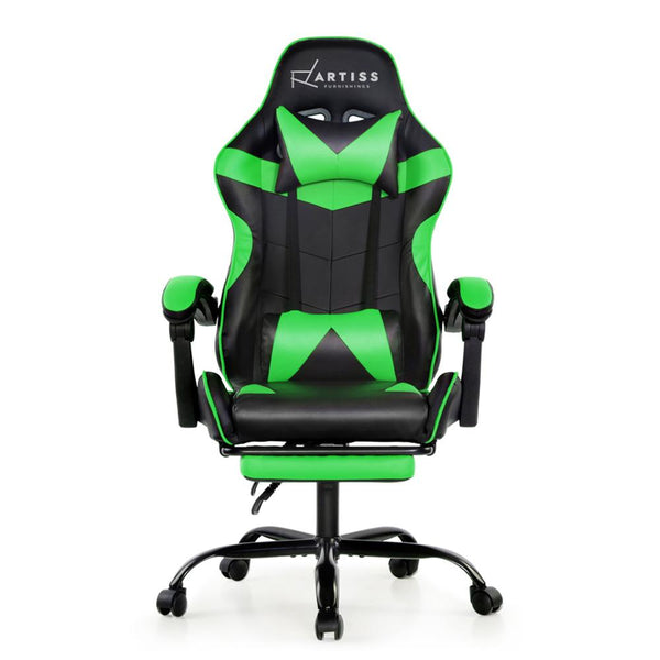Artiss Office Chair Gaming Chair Computer Chairs Recliner PU Leather Seat Armrest Footrest Black Green - Evopia