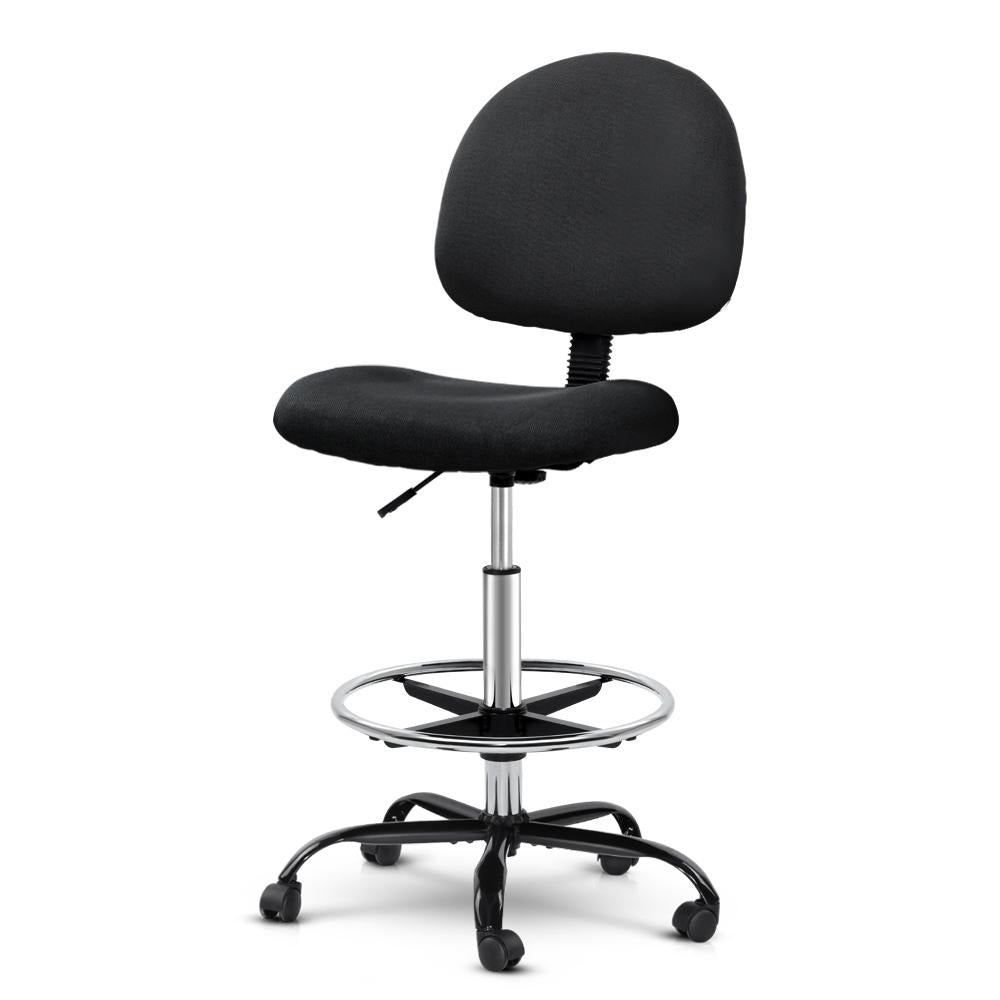 Artiss Office Chair Veer Drafting Stool Fabric Chairs Black - Evopia