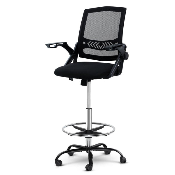 Artiss Office Chair Veer Drafting Stool Mesh Chairs Flip Up Armrest Black - Evopia