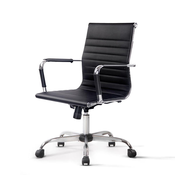 Eames Replica Office Chair Executive Mid Back Seating PU Leather Black - Evopia