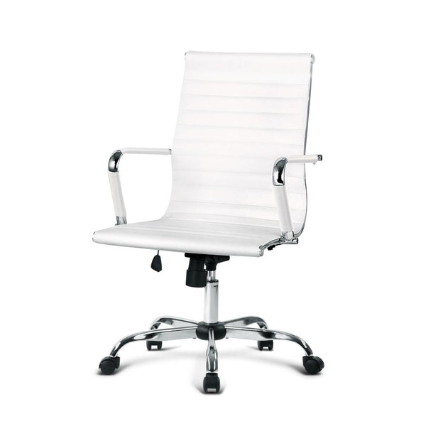 Eames Replica Office Chair Executive Mid Back Seating PU Leather White - Evopia