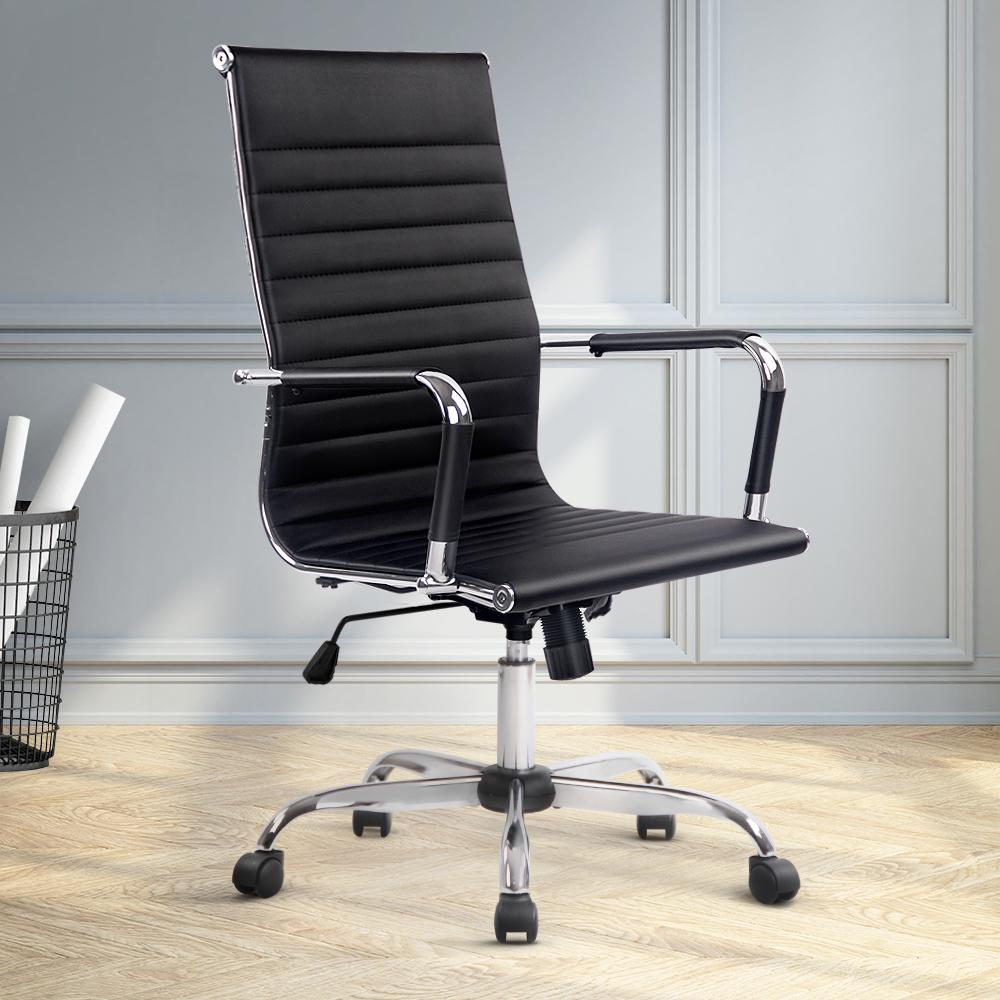Eames Replica Office Chair Executive High Back Seating PU Leather Black - Evopia
