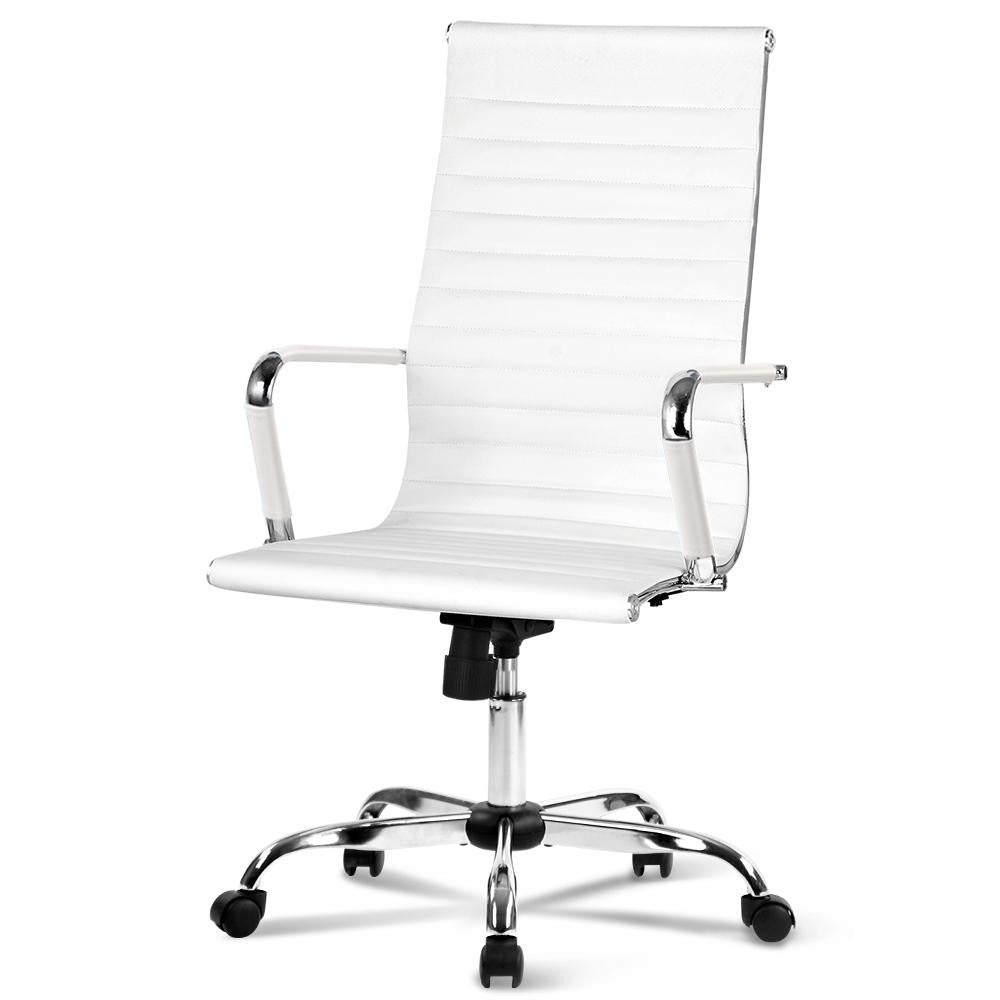 Artiss Eames Replica High Back PU Leather Chair White - Evopia