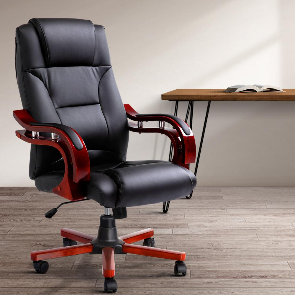 Artiss Executive Wooden Office Chair Wood Computer Chairs Leather Seat Sherman - Evopia
