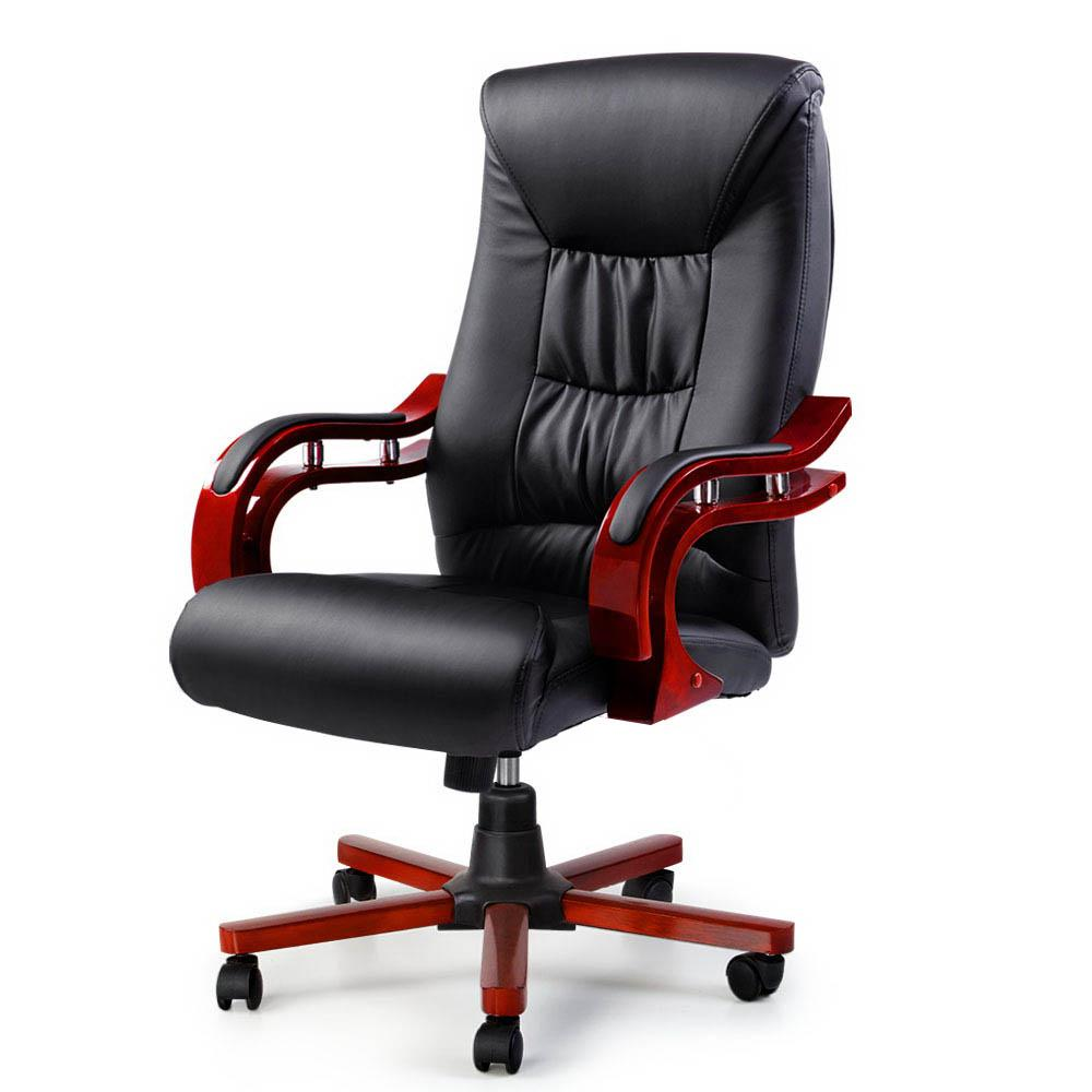 Artiss Executive Wooden Office Chair Wood Computer Chairs Leather Seat Sheridan - Evopia
