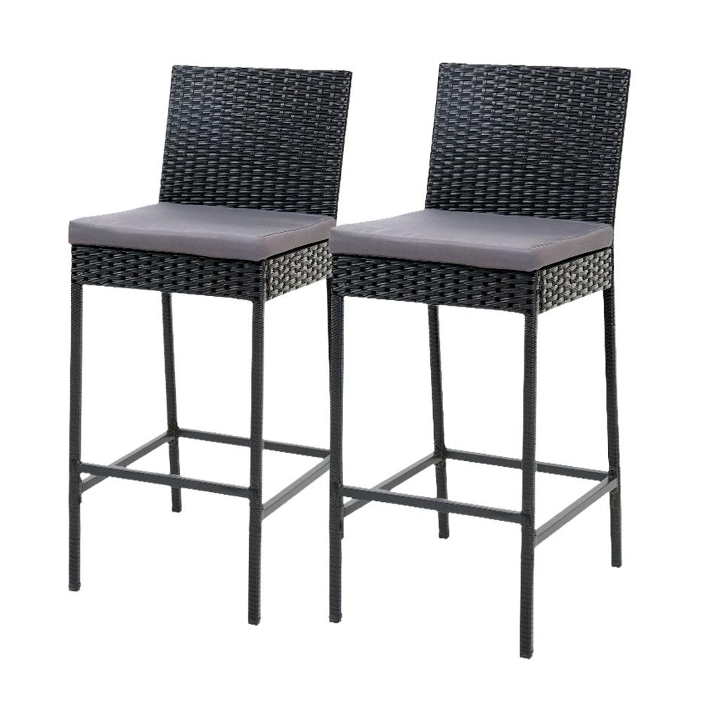Gardeon Outdoor Bar Stools Dining Chairs Rattan Furniture X2 - Evopia