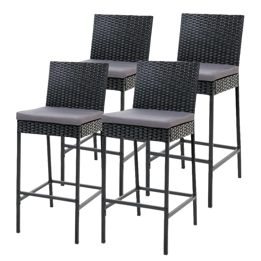 Gardeon Outdoor Bar Stools Dining Chairs Rattan Furniture X4 - Evopia