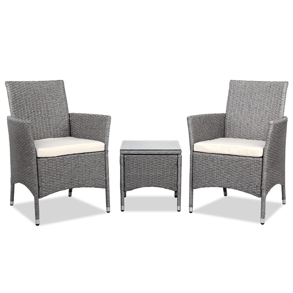 3 Piece Wicker Outdoor Chair Side Table Furniture Set Grey - Evopia