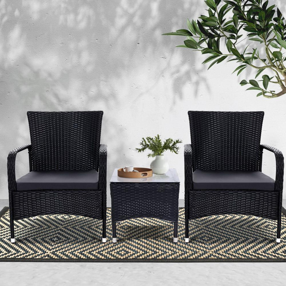 Outdoor Furniture Patio Set Wicker Rattan Outdoor Conversation Set Chairs Table 3PCS - Evopia