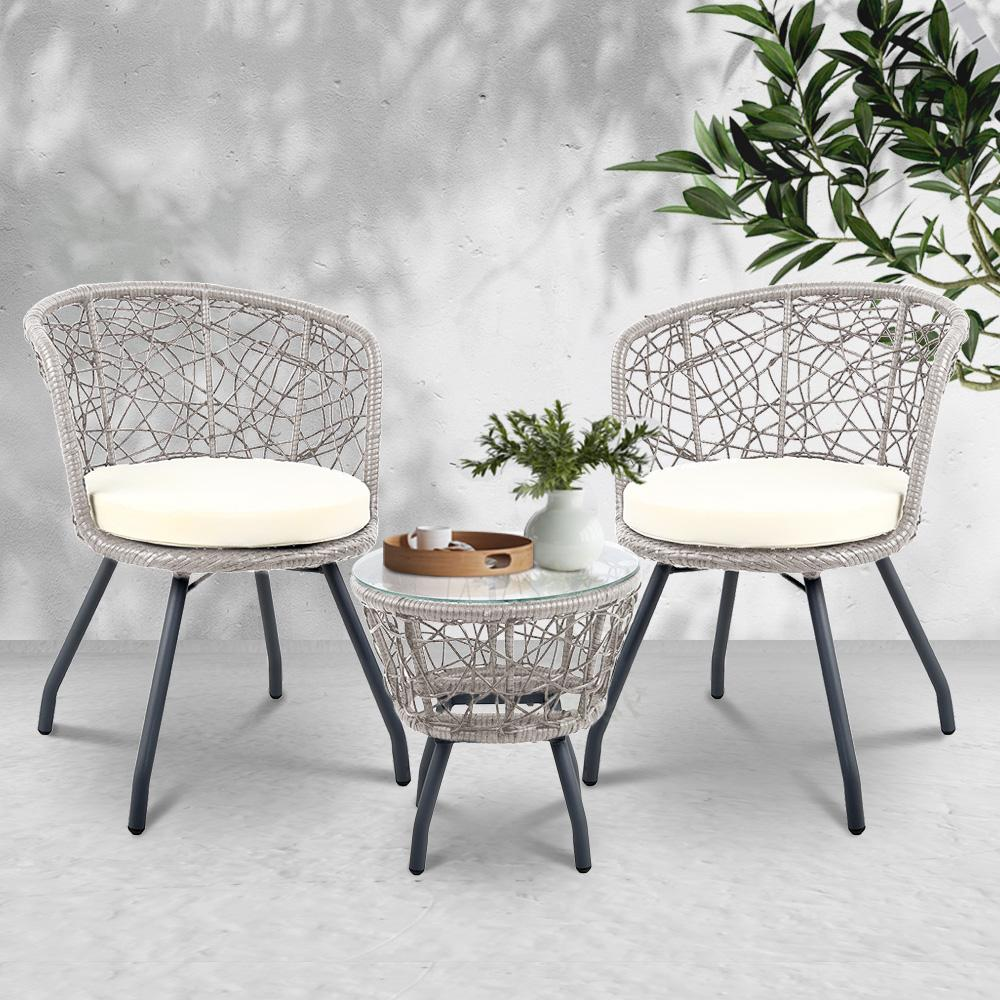 Gardeon Outdoor Patio Chair and Table - Grey - Evopia