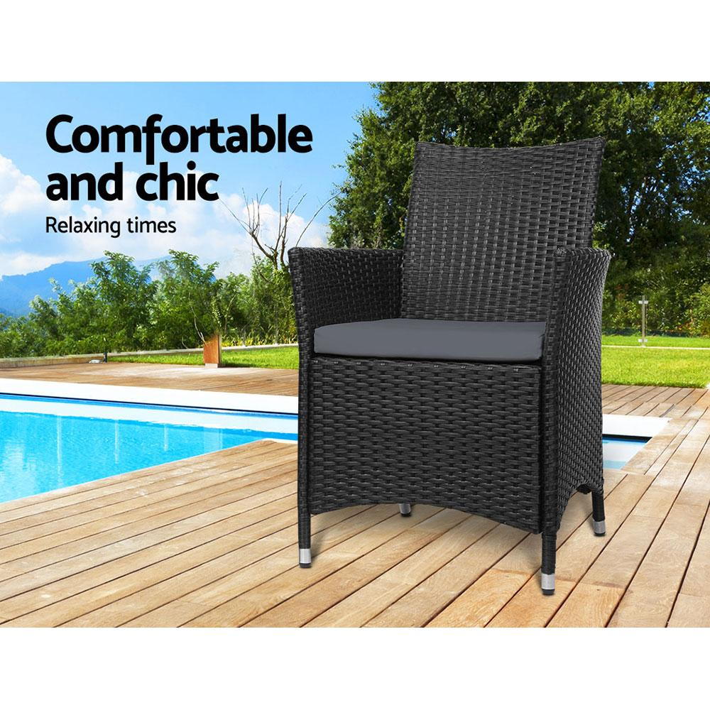 Outdoor Bistro Set Chairs Patio Furniture Dining Wicker Garden Cushion x2 Gardeon - Evopia