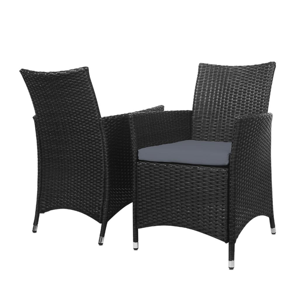 Gardeon Outdoor Furniture Wicker Chairs Bar Table Cooler Ice Bucket Patio Coffee Bistro Set - Evopia