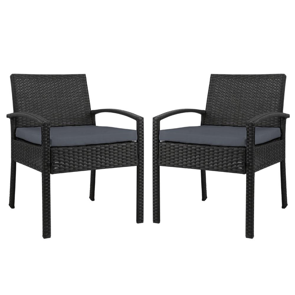 2x Outdoor Dining Chairs Wicker Chair Patio Garden Furniture Lounge Setting Bistro Set Cafe Cushion Gardeon Black - Evopia