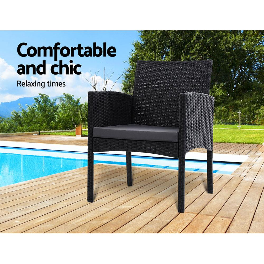 Outdoor Bistro Chairs Patio Furniture Dining Chair Wicker Garden Cushion Gardeon - Evopia