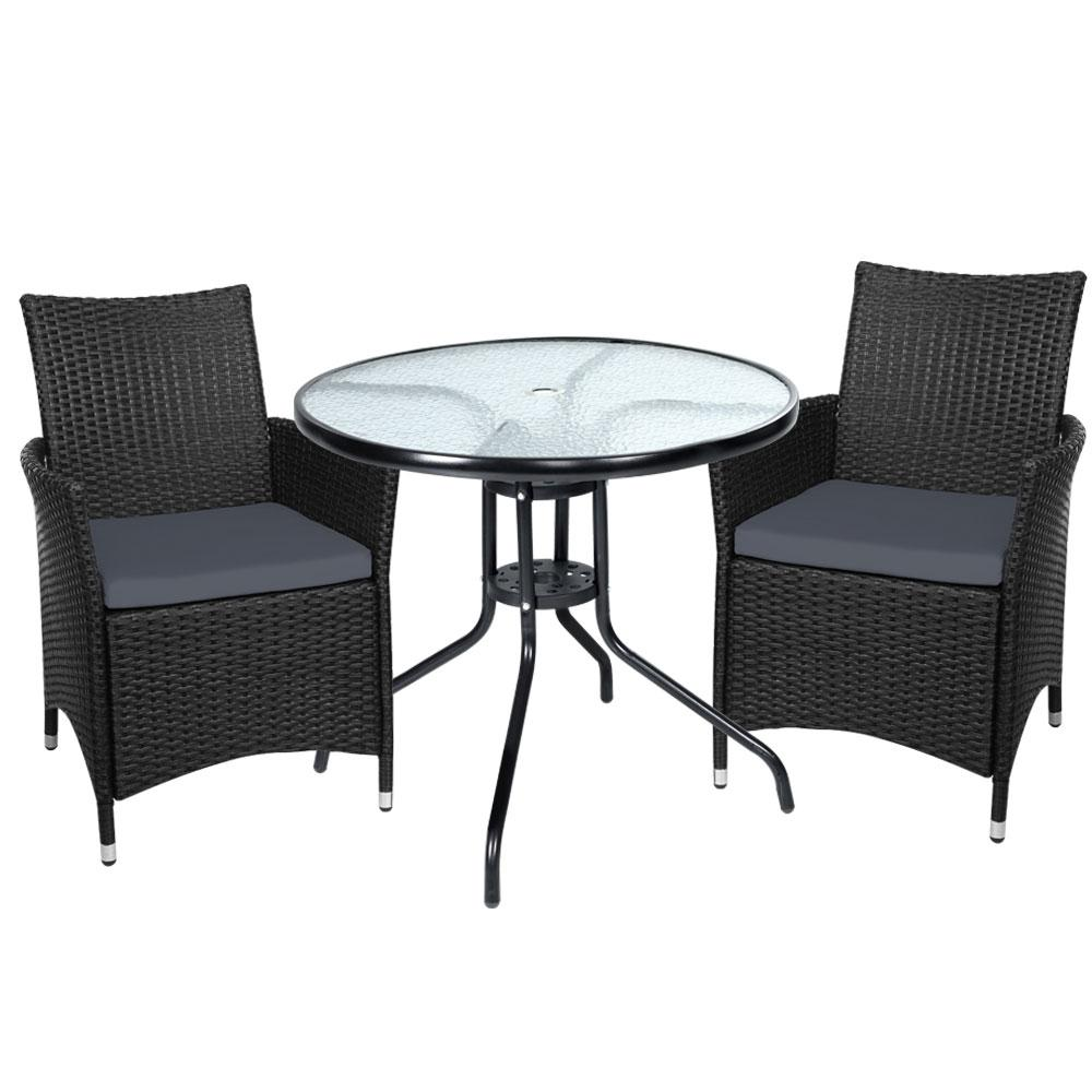 Gardeon Outdoor Furniture Dining Chair Table Bistro Set Wicker Patio Setting Tea Coffee Cafe Bar Set - Evopia