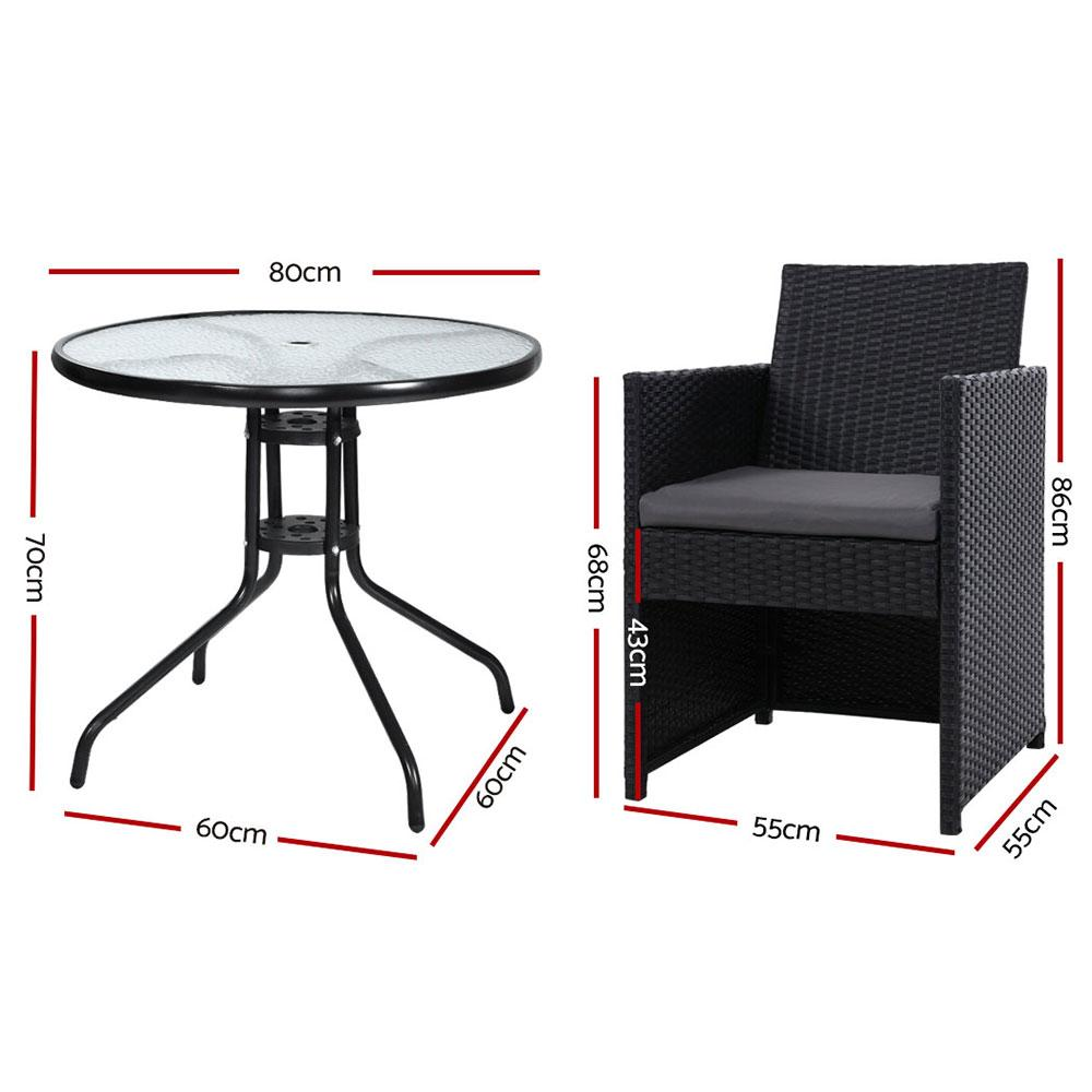 Gardeon Patio Furniture Dining Chairs Table Patio Setting Bistro Set Wicker Tea Coffee Cafe Bar Set - Evopia