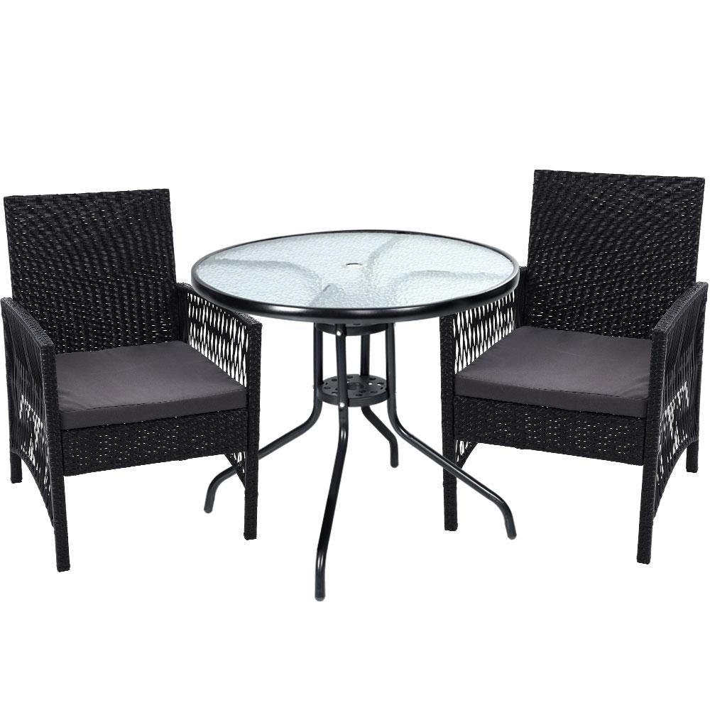 Gardeon Outdoor Furniture Dining Chairs Rattan Garden Patio Cushion Black 3PCS Tea Coffee Cafe Bar Set - Evopia