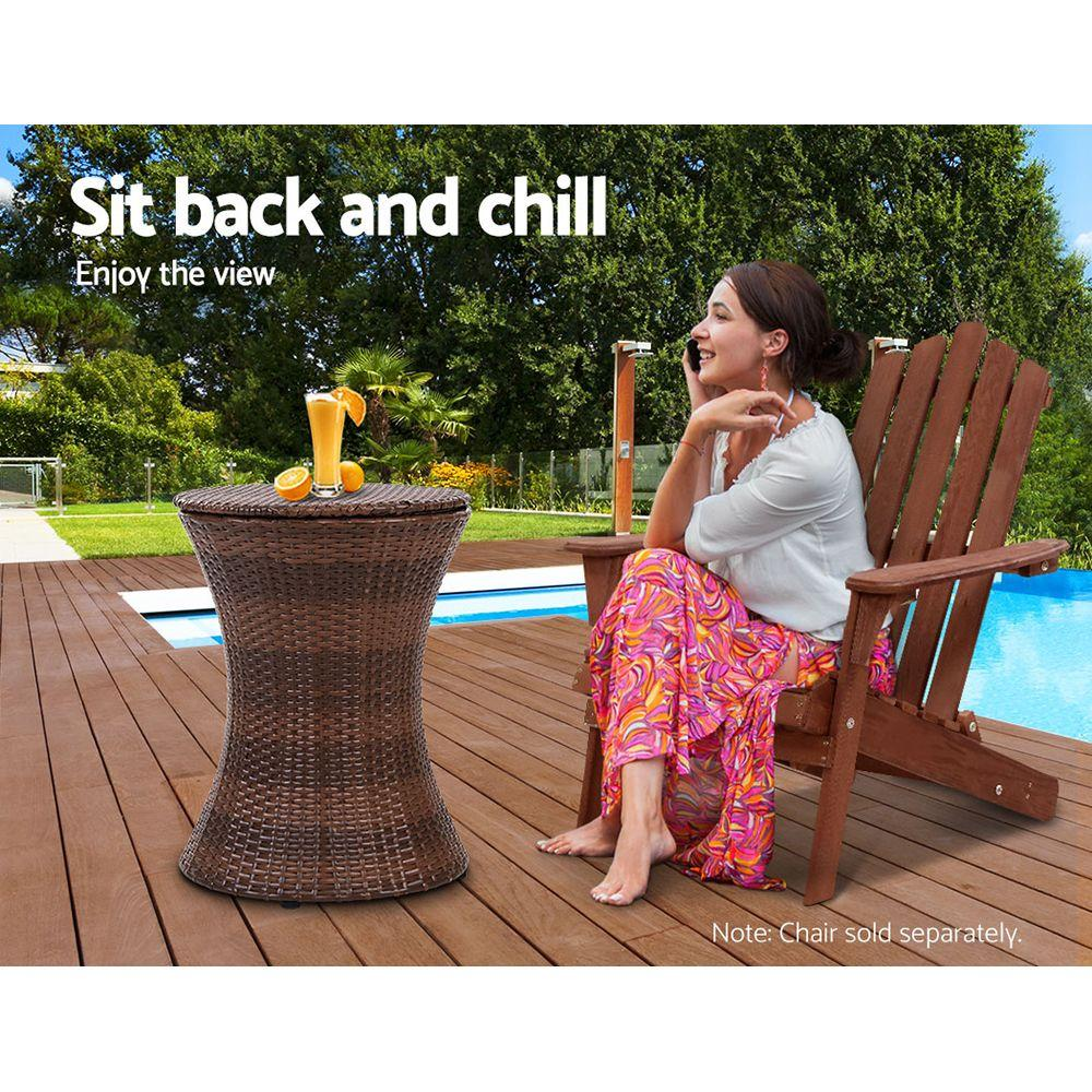 Outdoor Patio Pool Cooler Ice Bucket Rattan Bar Coffee Table Brown - Evopia