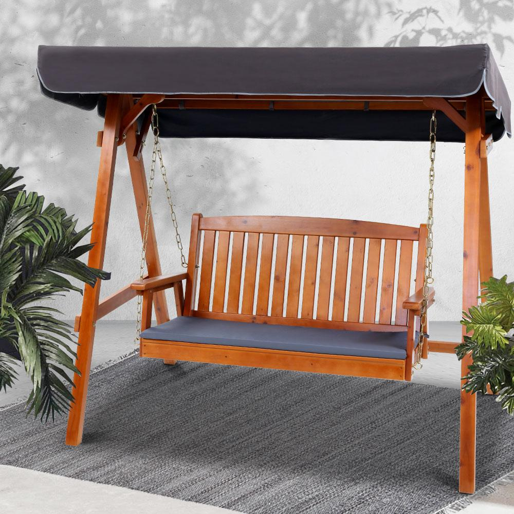 Gardeon Wooden Swing Chair Garden Bench Canopy 3 Seater Outdoor Furniture - Evopia