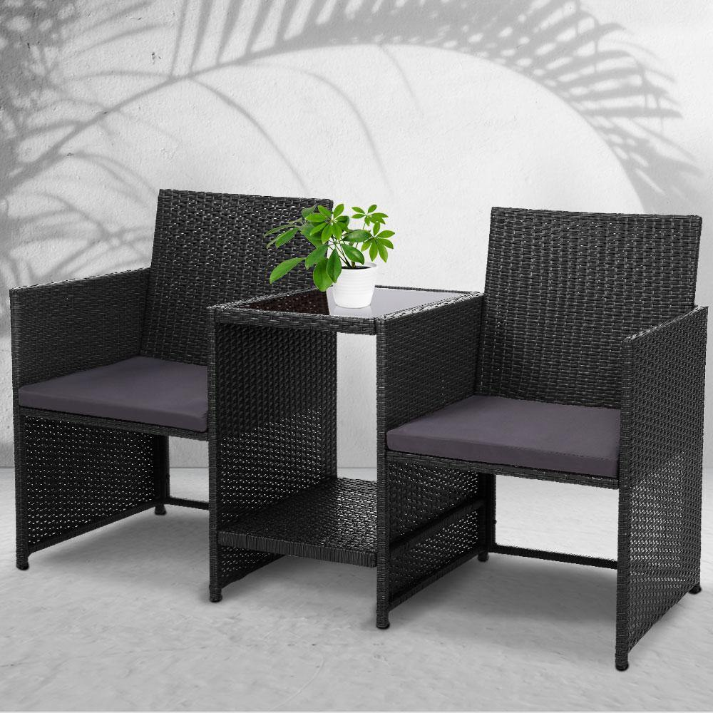 Gardeon Outdoor Setting Wicker Loveseat Birstro Set Patio Garden Furniture Black