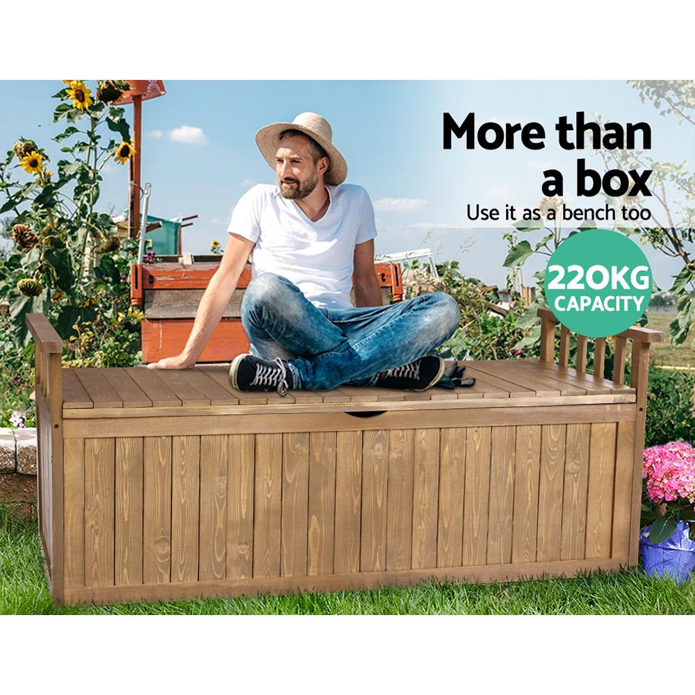 Gardeon Outdoor Storage Box Wooden Garden Bench 128.5cm Chest Tool Toy Sheds XL - Evopia