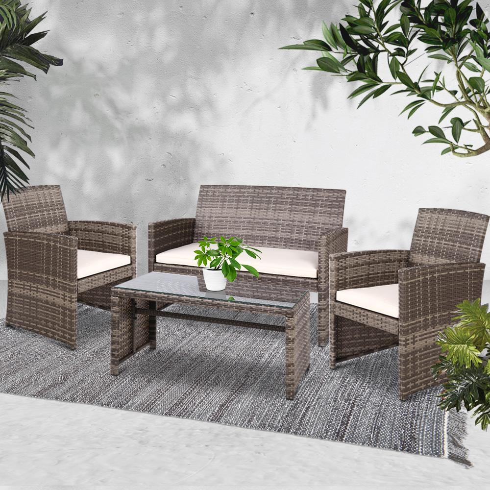 Gardeon Set of 4 Outdoor Rattan Chairs & Table - Grey - Evopia