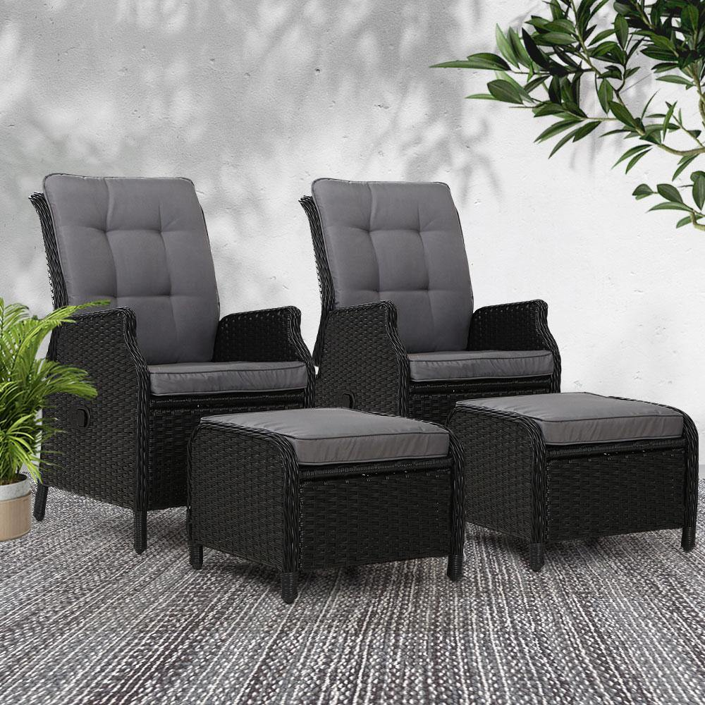 2pcs Gardeon Recliner Chairs Sun Lounge Outdoor Setting - Evopia