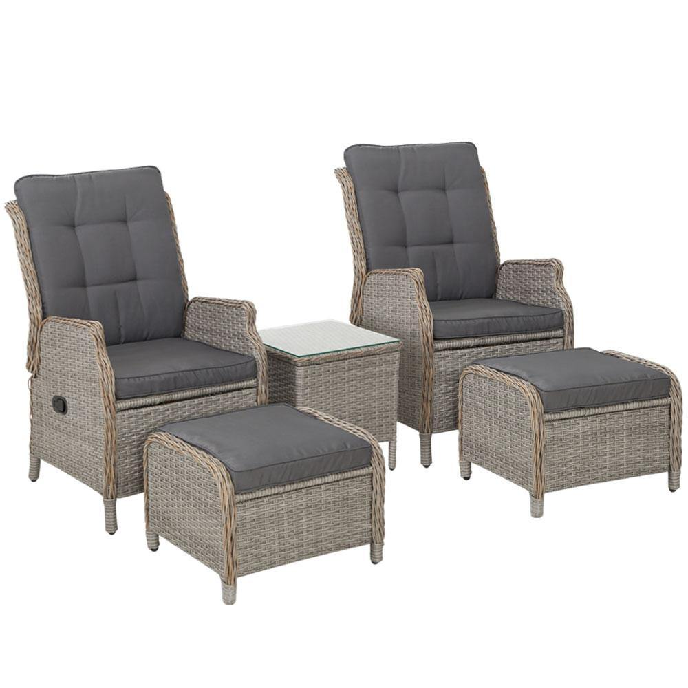 Gardeon Recliner Chairs Sun lounge Outdoor Setting