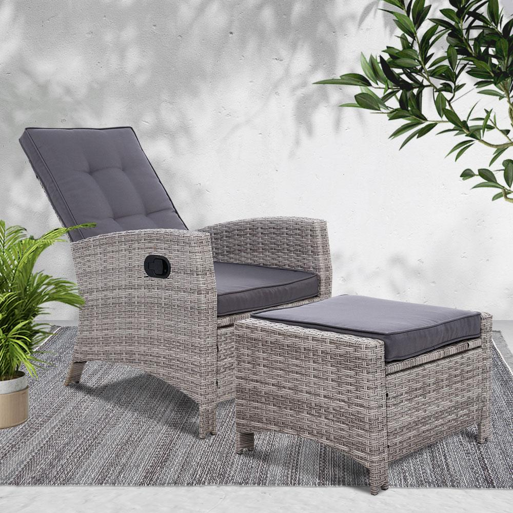 Sun lounge Recliner Chair Wicker Lounger Sofa Day Bed Outdoor Furniture Patio Garden Cushion Ottoman Grey Gardeon - Evopia