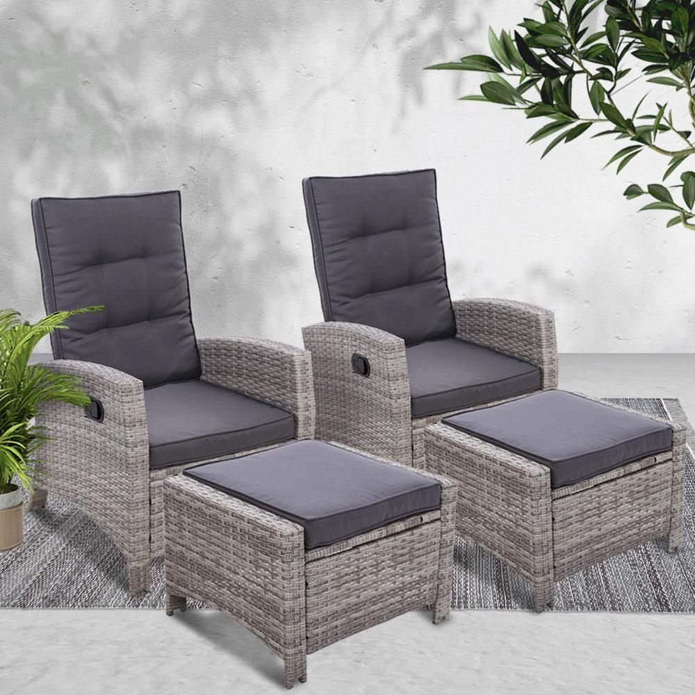 2PC Sun lounge Recliner Chair Wicker Lounger Sofa Day Bed Outdoor Chairs Patio Furniture Garden Cushion Ottoman Gardeon - Evopia