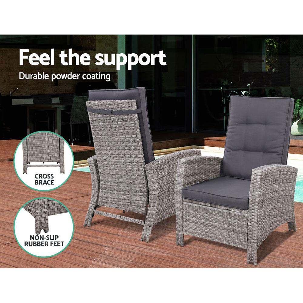 Gardeon Outdoor Setting Recliner Chair Table Set Wicker lounge Patio Furniture Grey - Evopia