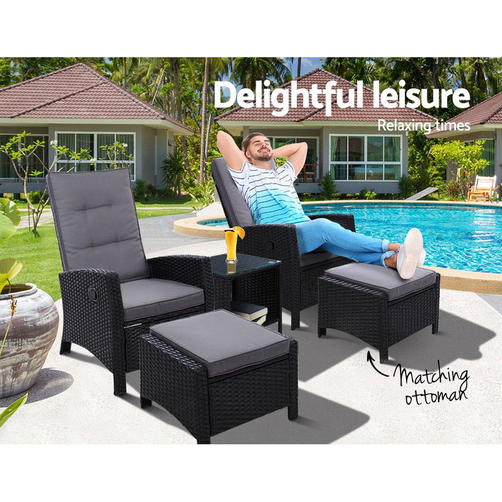 Gardeon Outdoor Patio Furniture Recliner Chairs Table Setting Wicker Lounge 5pc Black - Evopia