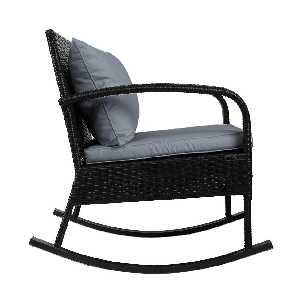 Gardeon Outdoor Furniture Rocking Chair Wicker Garden Patio Lounge Setting Black - Evopia