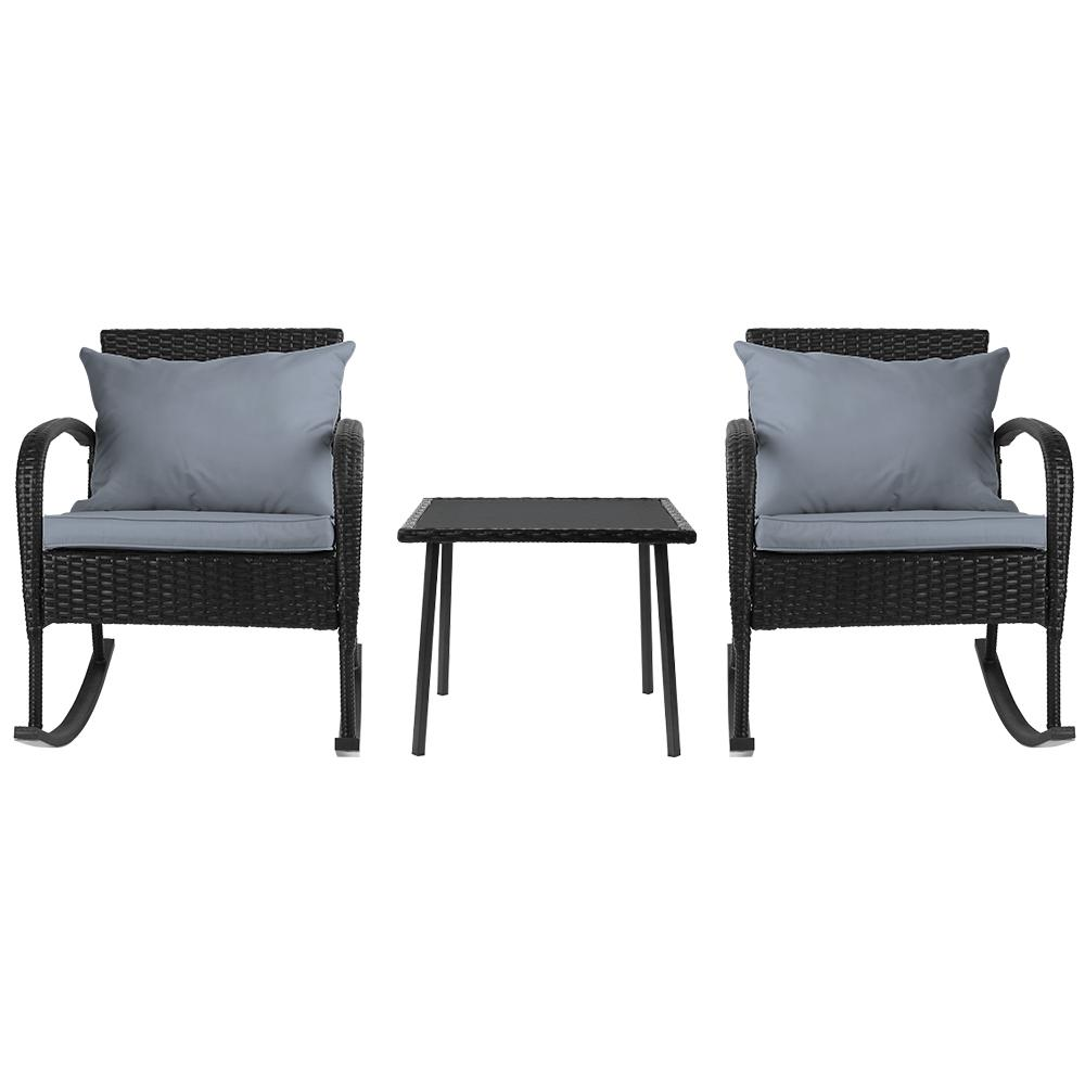 Gardeon 3 Piece Outdoor Chair Rocking Set - Black - Evopia