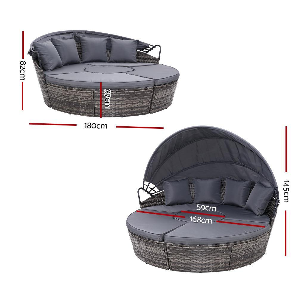Gardeon Outdoor Lounge Setting Sofa Day Bed Grey