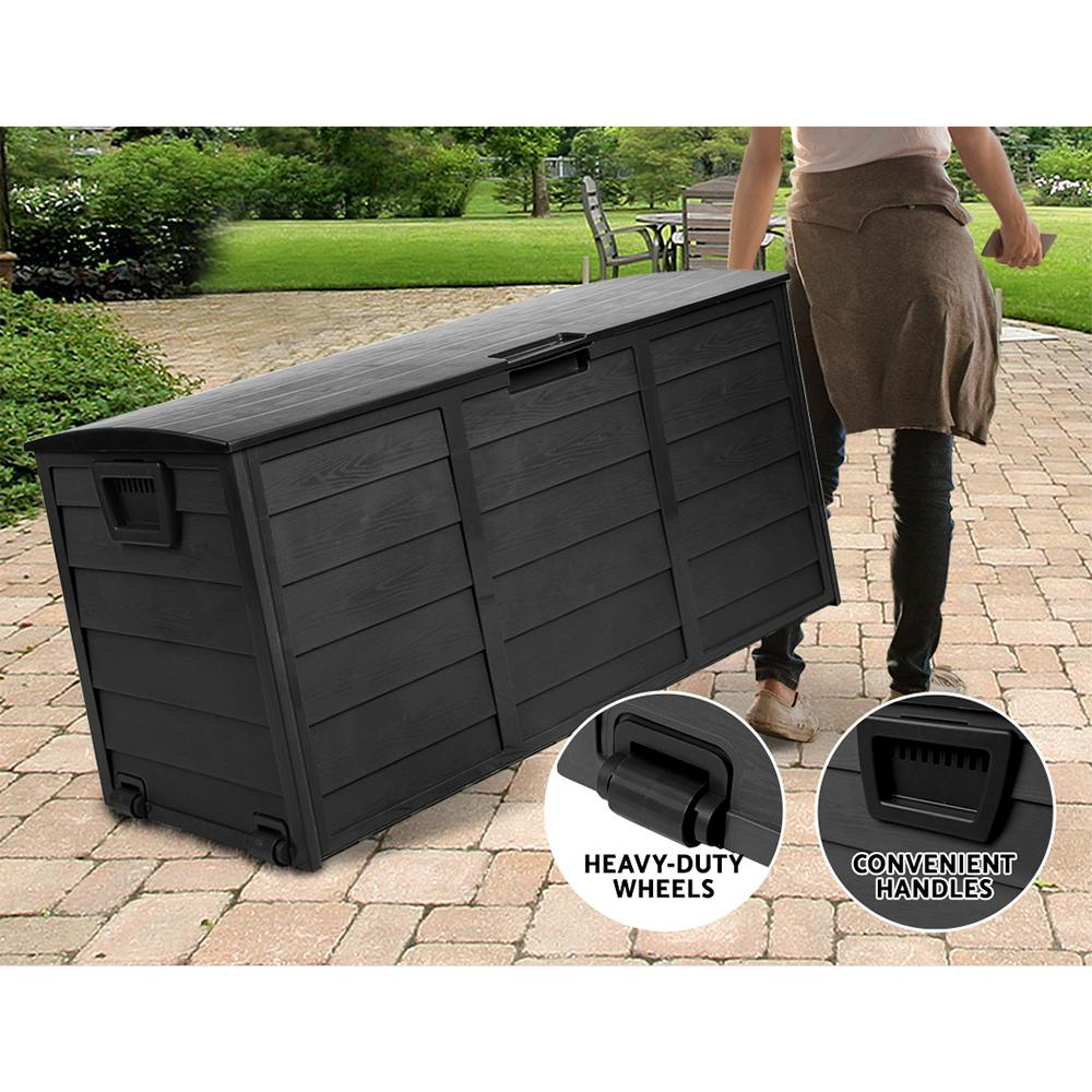 Giantz 290L Outdoor Storage Box Lockable Weatherproof Garden Deck Toy Shed ALL BLACK - Evopia