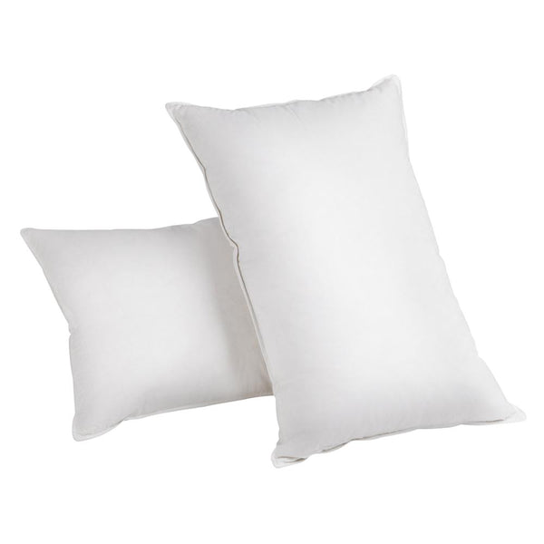 pair of white duck feather and down pillows
