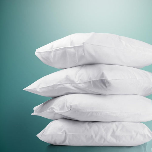 Pillow Set of 4 Medium & Firm Cotton Pillows - Evopia