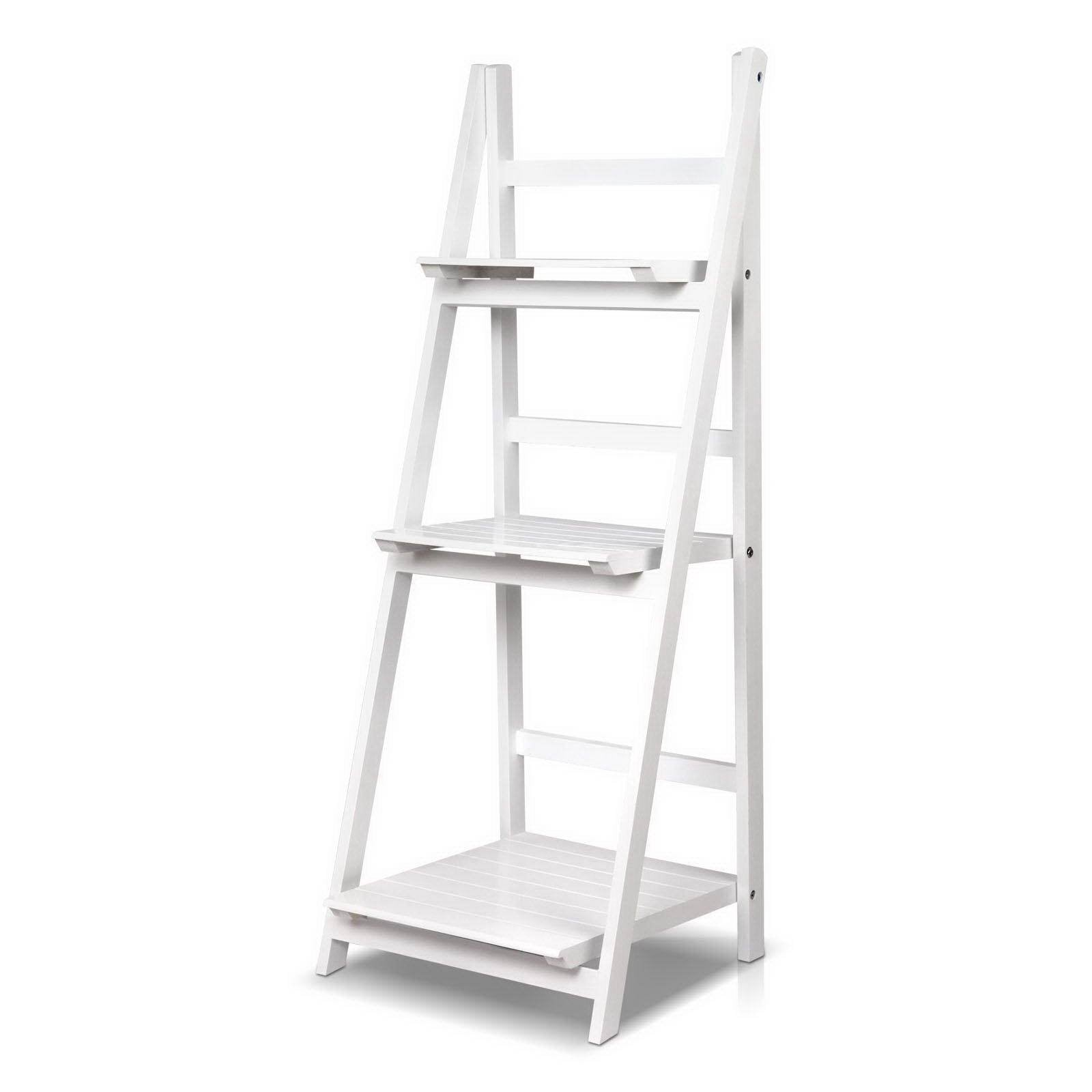 Artiss Display Shelf 3 Tier Wooden Ladder Stand Storage Book Shelves Rack White - Evopia