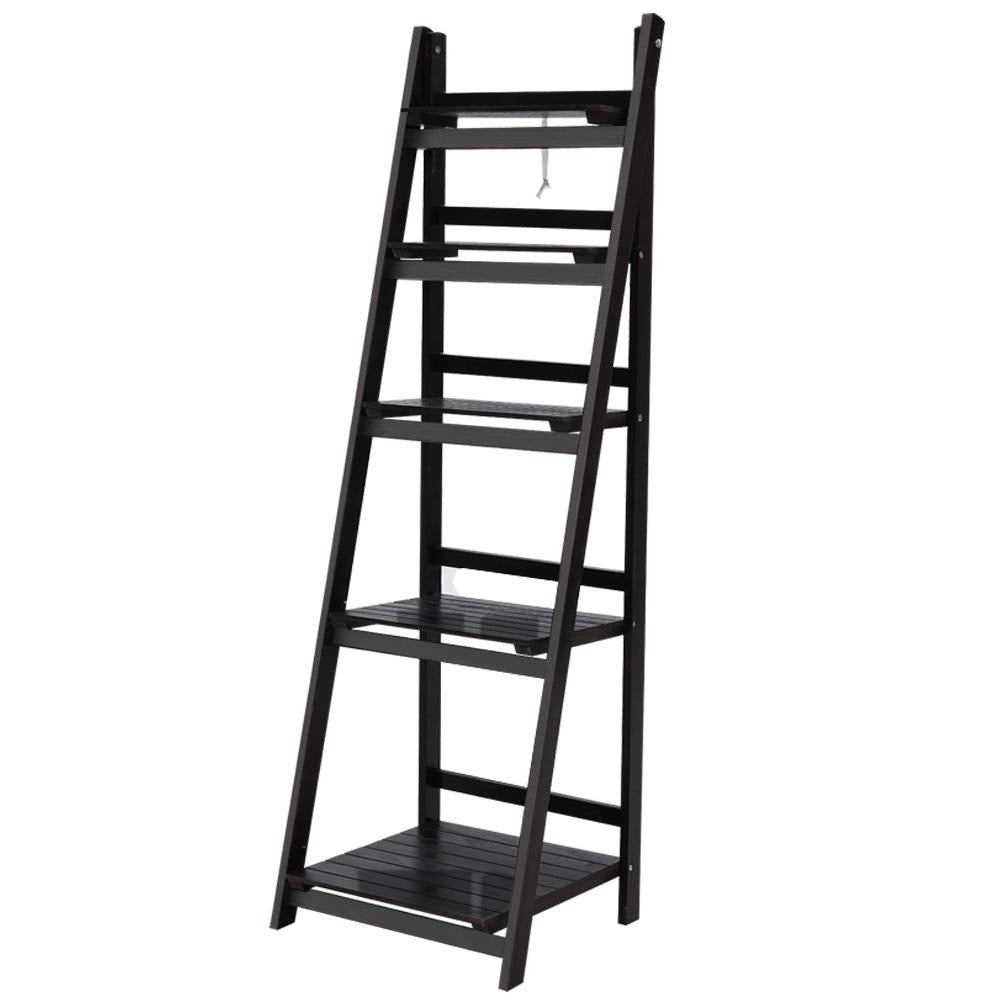 Artiss Display Shelf 5 Tier Wooden Ladder Stand Storage Book Shelves Rack Coffee - Evopia